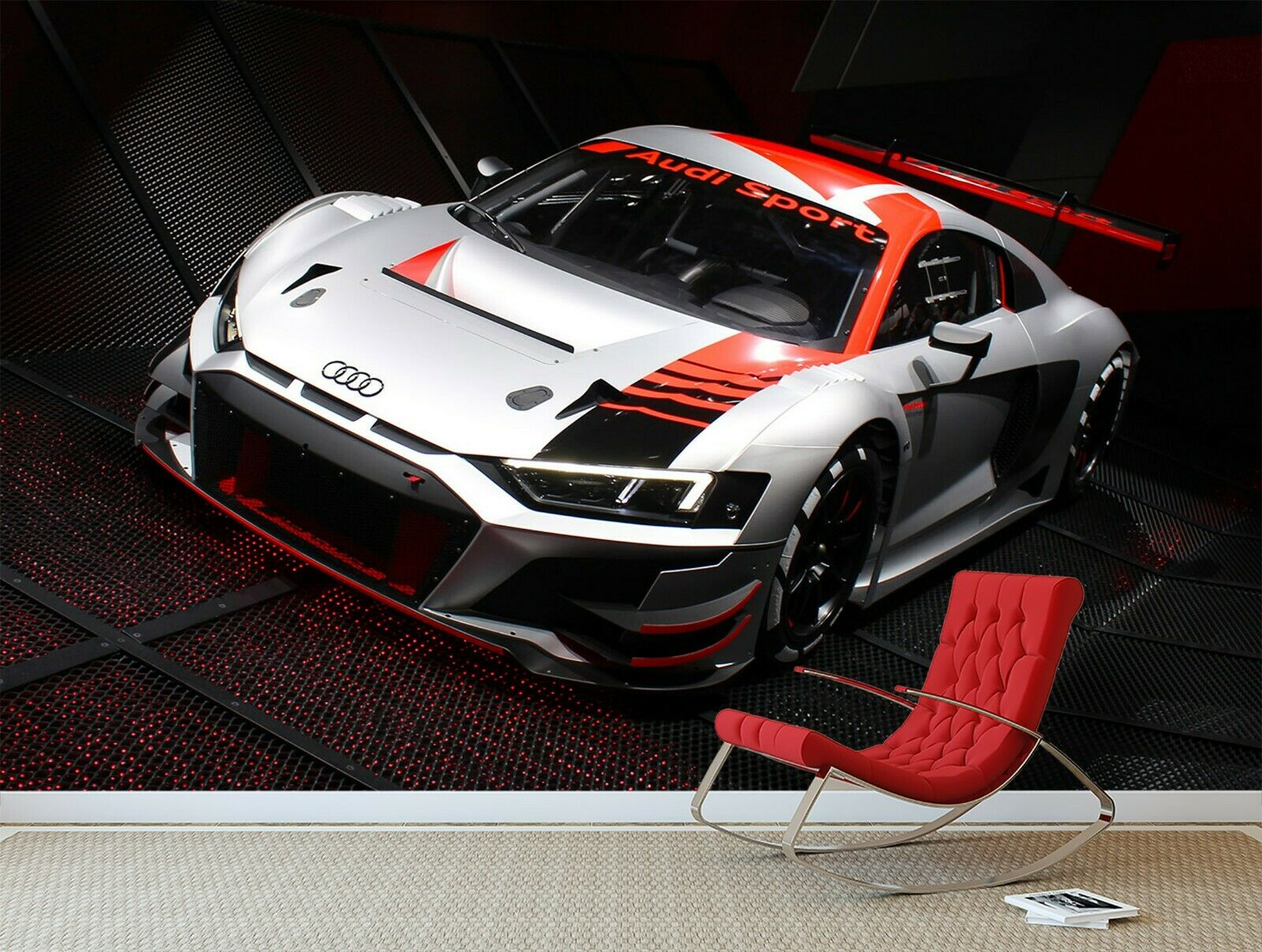 3D Sports Car B163 Transport Wallpaper Mural Self-adhesive Removable Wendy