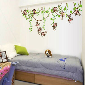 Jungle-Animals-Monkey-Tree-Kids-Art-Decor-Mural-Decal-Wall-Stickers-Set