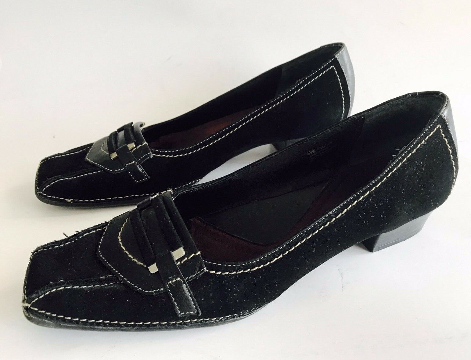 Whats What By Aerosoles Black Leather Low Heels Pumps shoes Women's Size 8.5