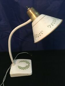 Mid-Century-Enamel-Desk-Lamp-White-with-Green-Leaves-Works