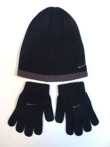 5a1aad3df9e Nike Swoosh Black   Gray Knit Beanie   Knit Stretch Gloves Youth ...