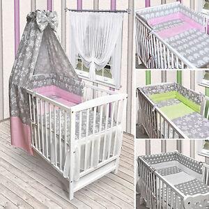 Babybett Kinderbett weiß Bettwäsche Bettset Decke komplett NEU Sterne Grau