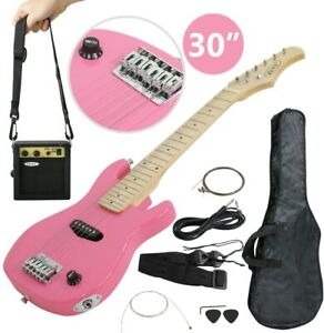 """30"""" Full Size Pink Electric Guitar With Amp Much More Guitar Combo Accessory"""