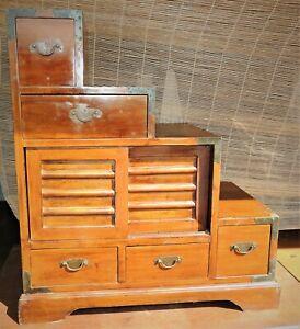 Antique Japanese Kaidan Dansu Tansu Step Stair Cabinet...