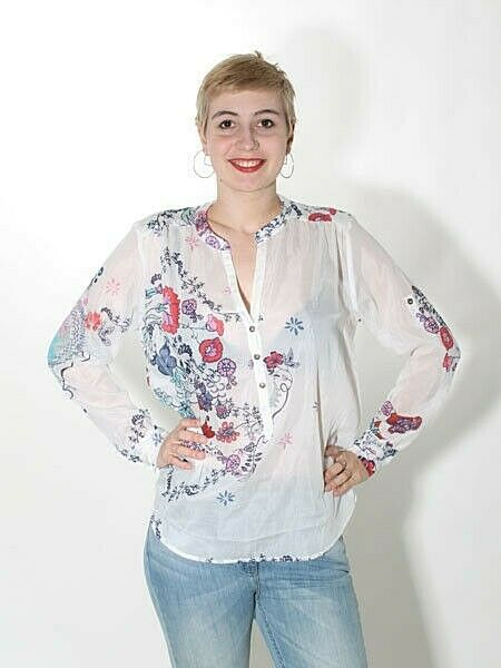 -30% Chemisier Tunique IVKO, taille 40 et 44 Off White Floral Coton Soie