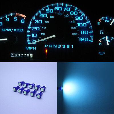 10pc Ice Blue T5 73 74 Speedometer Instrument Dashboard LED Light Bulb For Honda