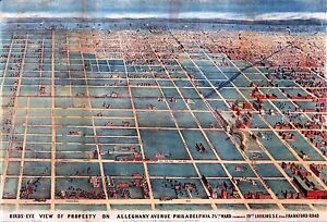 PHILADELPHIA PA 25th WARD COPY POSTER MAP 1863 BIRD/'S EYE VIEW OF ALLEGHENY AVE