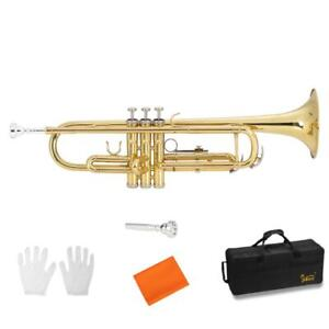 Brand New Gold Brass Bb Trumpet + Case Cloth Gloves Student School Band