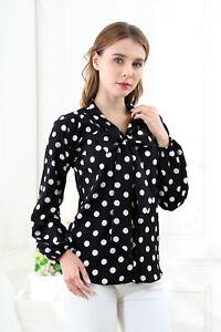 Women-039-s-Pussy-Bow-Neck-Shirt-Top-Blouse-Size-14-Polka-Dot-Black