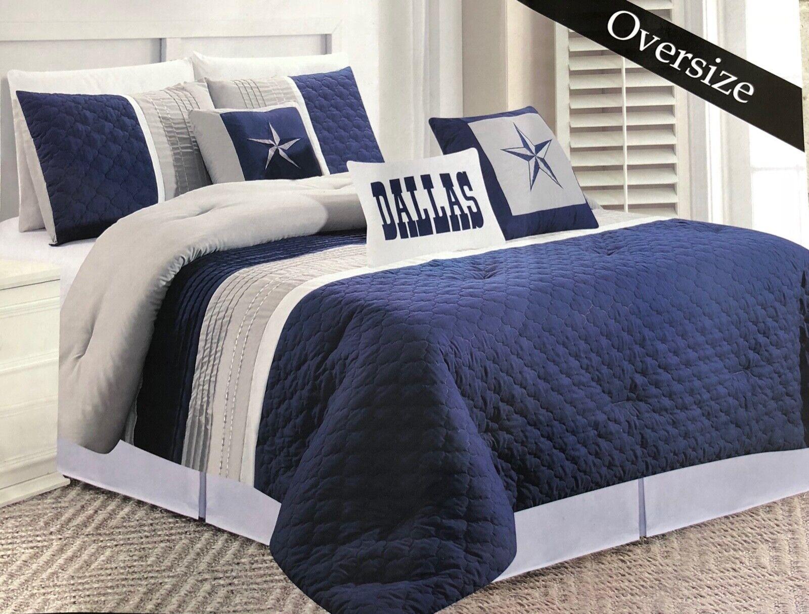 Dallas Cowboys Western Star Design Quilt BedSpread Comforter Navy Blau - 6 Piece