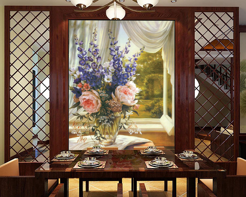 3D Vasen, Blaumen, vorhänge 3 Fototapeten Wandbild Fototapete BildTapete Familie