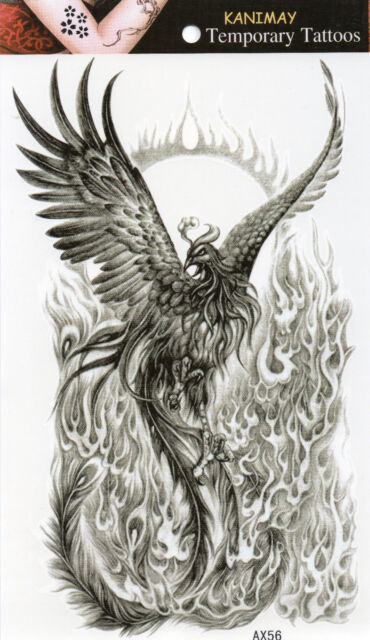 Vogel Phönix Temporary Temporäre Klebe Einmal Tattoo Klebetattoo 12 x 20 cm AX56