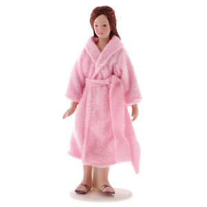 1-12-Dolls-House-Miniature-Long-Hair-Lady-in-Pink-Pajamas-Doll-with-Stand