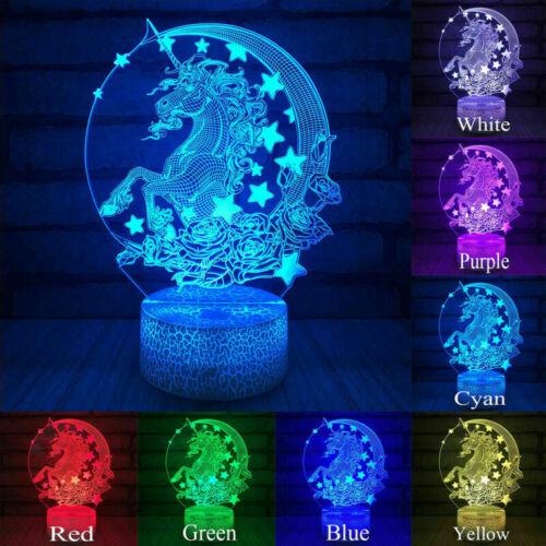 3D LED Weihnachten Nachtlicht Einhorn Schreibtischlampe Tischlampe Geschenk Deko