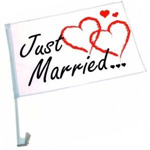 24x-Autofahne-034-Just-Married-034-Auto-Fahne-Flagge-Liebe-Hochzeit-Justmarried-Love