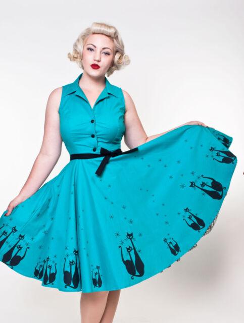 Heart of Haute USA Made Jade El Gato Swing Dress Aqua Silhouette Black Cat S-XL