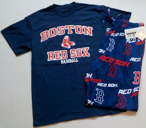 BOSTON RED SOX  MENS SLEEP LOUNGE PAJAMA PANT T SHIRT SET M L XL 2X NWT BLUE