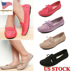 Women-039-s-Lace-up-Moccasins-Solid-Color-Pumps-Ladies-Casual-Flats-Shoes-Size-6-8-5