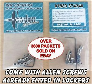 12-PIN-BADGE-KEEPERS-LOCKS-REPLACES-039-S-BUTTERFLY-BACKS-PRE-FITTED-ALLEN-SCREWS