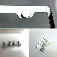 Set Of Four License Plate Frame Mirror Chrome Metal Cap Stainless Steel Screw