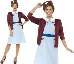 da-donna-Vintage-Infermiera-Costume-anni-039-40-WW2-vestito-SMIFFYS-NUOVO