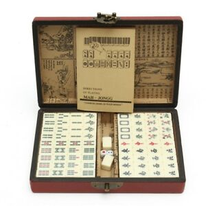 Portable-Vintage-Mahjong-Rare-Chinese-144-Tiles-Mah-Jong-Set-Toy-With-Leather-Bo
