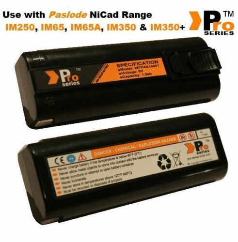 2 x pro series replacement batteries 6v 1.5ah for paslode im350//350+//65//65A  07