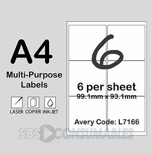 Details about 6 Per Sheet White Printable Address Labels L7166  A4,  Self-Adhesive - 25 Sheets