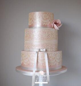 EDIBLE 3 LARGE sugar laces Anniversary cupcake cake BabyShower Birthday WEDDING