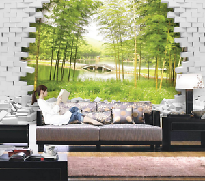 3D Bamboo Forest Arch Bridge Wall Paper Wall Print Decal Wall AJ WALLPAPER CA