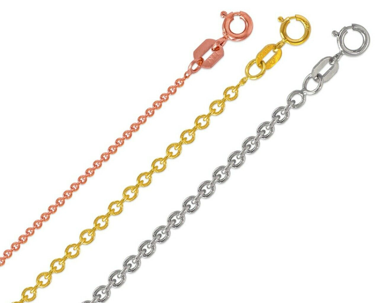 Solid 14K Yellow Gold 18 Twisted Curb Link Chain Necklace 2.3mm 1.9 grams