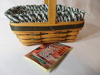 Longaberger 1998 Sweetheart Picture Perfect Basket Liner Green Ticking