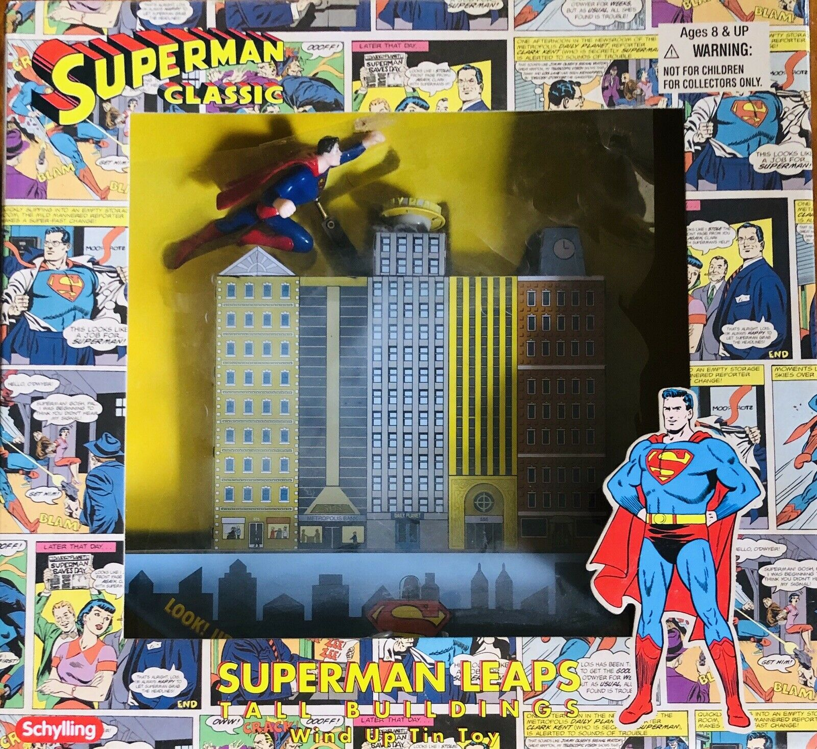 SCHYLLNG SUPERMAN CLASSIC LEAPS TALL BUILDING Spielzeug NEW IN BOX