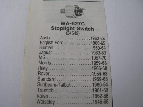 Niehoff WA627C Brake Light Switch