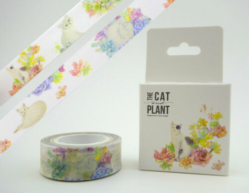Cat /& succulent washi tape kitty watercolor masking tape Cute planner tape