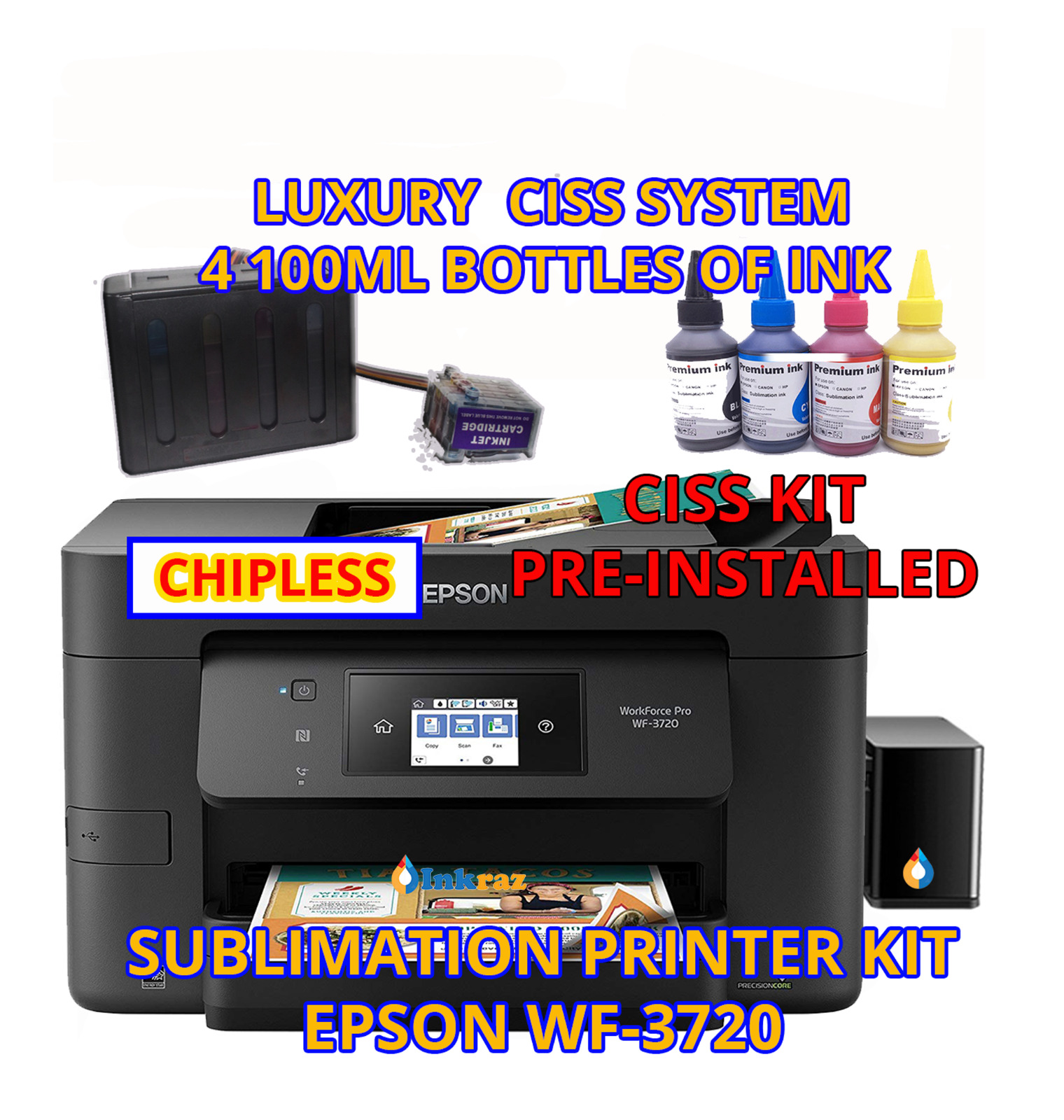 Epson WF-3720 Sublimation Printer Bundle with CISS Kit, Sublimation Ink. Buy it now for 393.99