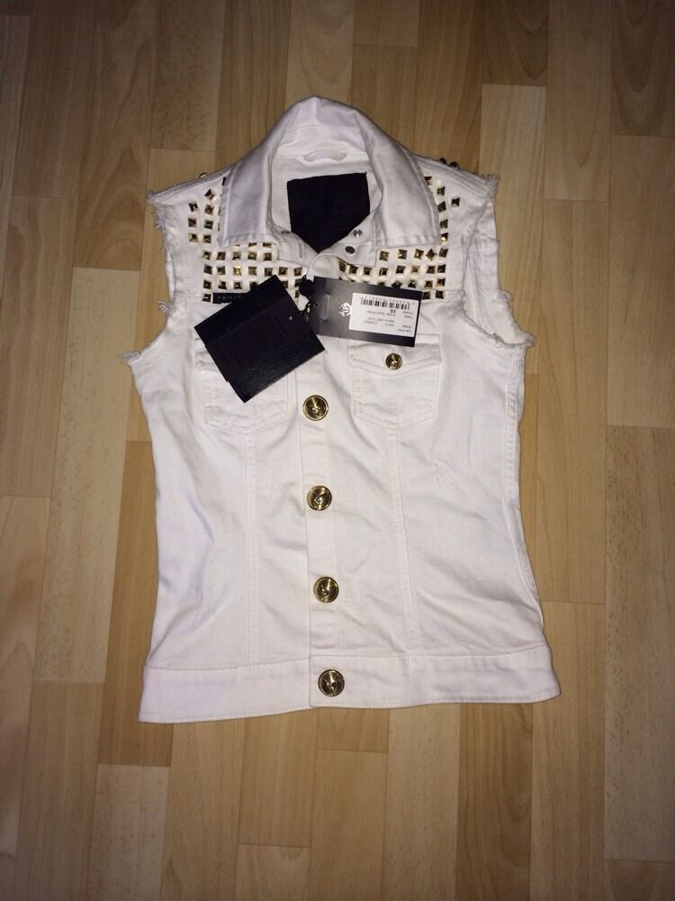 Philipp Plein Weste Denim Vest Rock XS Sold Out New With Tags