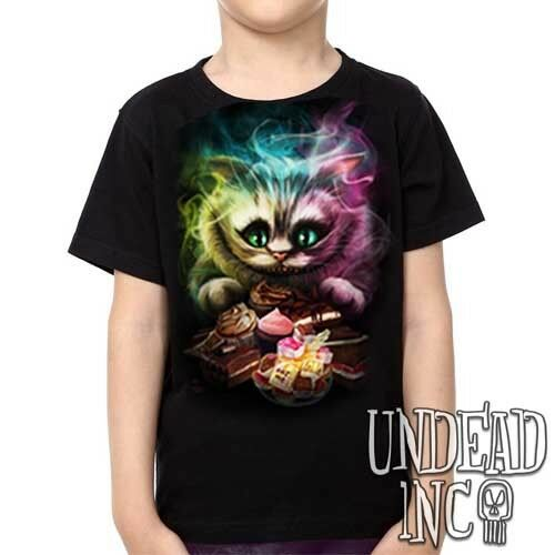 Unisex Girls /& Boys T shirt Disney Alice in Wonderland Tim Burton Cheshire Cat