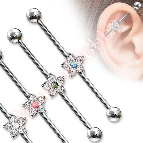 14G 38mm CZ Opal Glitter Flower Ear Industrial Barbell Body Piercing Jewellery