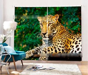 3D Leopardo 76 Cortinas de impresión de cortina de foto Blockout Tela Cortinas Ventana CA