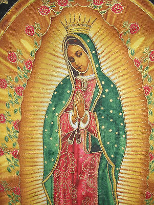 Authentic Mexican Sequin Patch Virgin of Guadalupe /& Red Roses 20.5 x 11.5cms