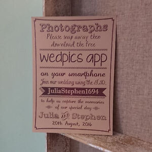 Personalised Wedpics App Vintage Buff Wedding Signprint Photos 3