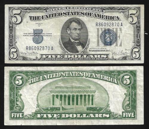 1934D VF US 5 Dollar Silver Certificate
