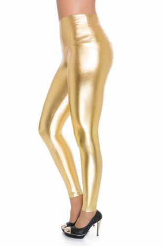 Damen Kunstleder /& Klassisch Bund Leggings Silber Gold Schwarz Glänzend