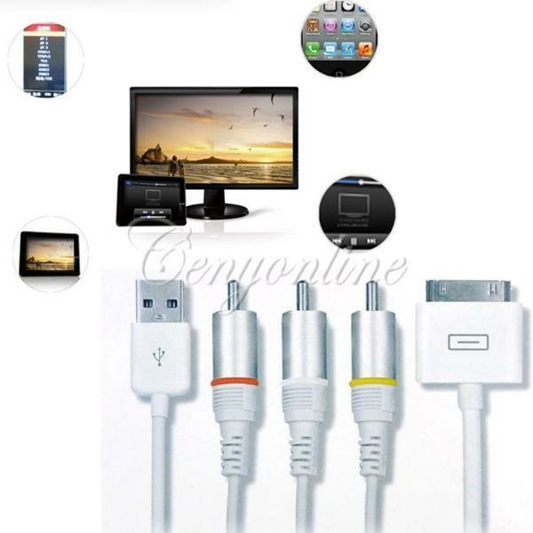 Composite Video AV Cable to TV RCA USB Charger for iPad 3 iPhone 4 4S iPod Touch