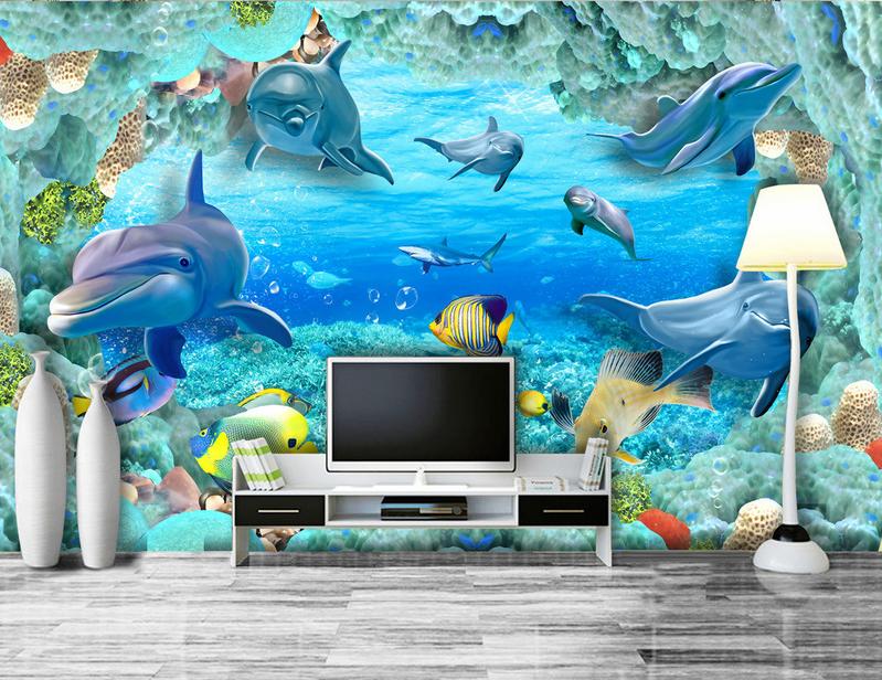 3D Seaweed Dolphin Sea 839 Wallpaper Mural Paper Wall Print Wallpaper Murals UK