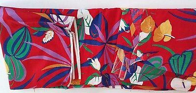 Cranston Print Works Schwartz Liebman HawaiianRed Floral Cotton Fabric USA 4 yds
