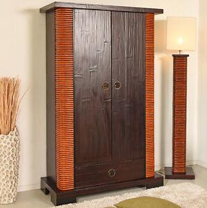designer schrank shiva rattan bambus holzschrank kleiderschrank garderobe massiv ebay. Black Bedroom Furniture Sets. Home Design Ideas