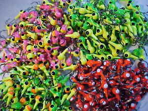 50 NEW 1//8 OZ LEAD HEAD JIG HEADS   WALLEYE PINK GREEN CHART ORANGE JIGS