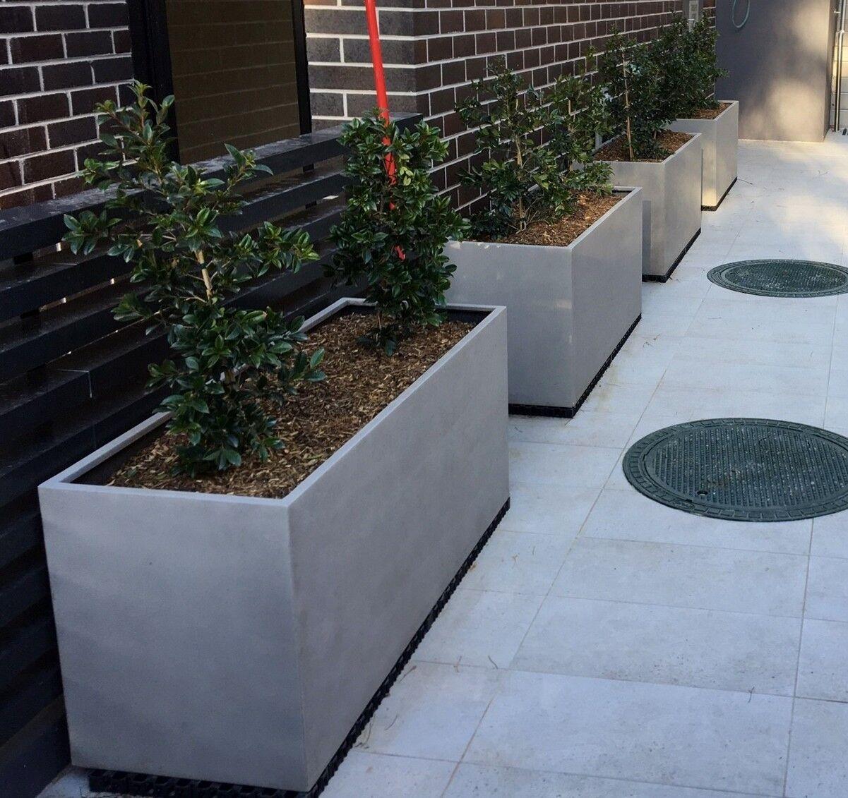 White Outdoor Patio 36 Deluxe Large Garden Planter Flower: Garden Pots: L120xW45xH55 Long Ultra Lite Weight Concrete